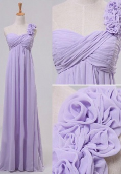 A-Line One-Shoulder Floor-Length Lavender Prom Dress with Flowers
