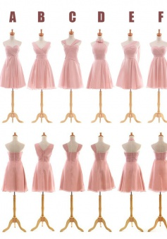 Six Styles  Chiffon Sleeveless Short Pink Bridesmaid Dress CHBD-7097