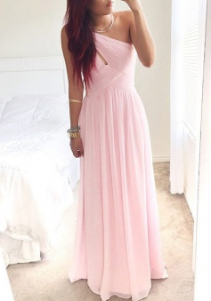 Elegant One-shoulder Long Pink Chiffon Cheap Bridesmaid Dress