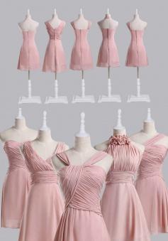 Best Selling Short Blush Coral Chiffon Bridesmaid Dress under 100