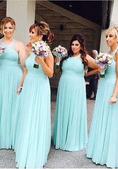 Elegant Halter Ruffles A-line Floor-length Mint Bridesmaid Dresses CHBD-71142