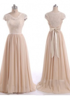 Gorgeous A-Line V-Neck Floor Length Cap Sleeves Pink Bridesmaid Dress with Ruched