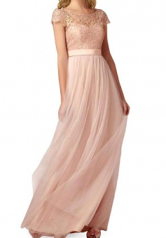 Elegant A Line Scoop Neck  Floor Length Backless Bridesmaid Dress