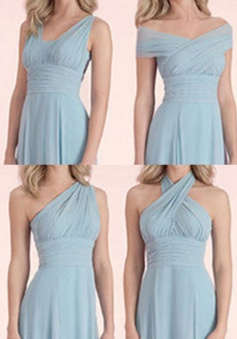 Simple A-line Halter Floor-length Blue Chiffon Bridesmaid Dress With Ruffles