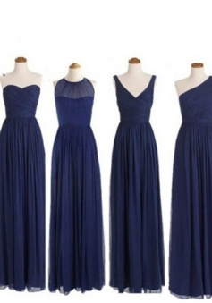Simple Dress Elegant A-line Floor Length Chiffon Royal Blue Bridesmaid Dress With Ruched