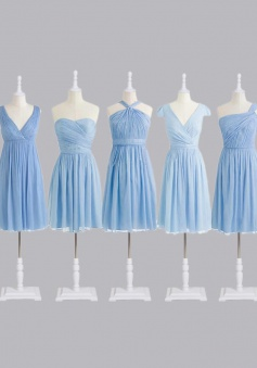 Stylish Short A-line Light Blue Chiffon Bridesmaid Dress