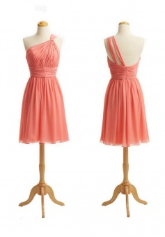 Elegant One-shoulder Short Coral Chiffon Bridesmaid Dress