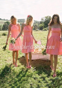 Elegant A-line Halter/Strapless Knee-length Satin Bridesmaid Dress