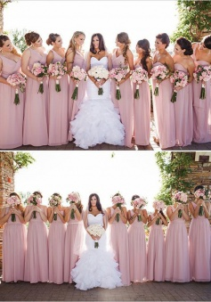 Simple & Hot Sweetheart One Shoulder Chiffon Long Pink Bridesmaid Dresses BD-70927