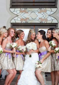 Fashion & Sexy  2015 Sweetheart Short Silver Sequins Bridesmaid Dresses With Purple Sash BD-70943