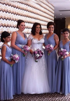 Elegant V-neck Lavender Floor-length Beading Long Bridesmaid Dress