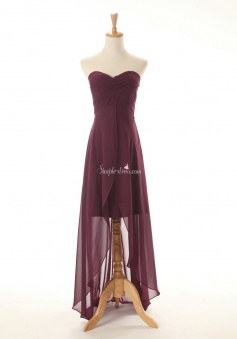 Princess Strapless Long Chiffon Bridesmaid Dress Ruched with Ruffles