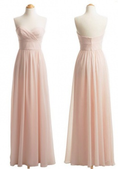 Cheap Sweetheart A-line Long Chiffon Bridesmaid Dress