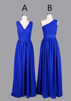 Sweetheart/V-neck/One-shoulder Long Chiffon Bridesmaid Dress