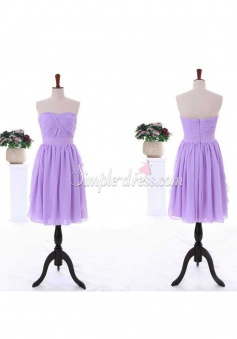 Elegant A-line Sweetheart Zipper-up Lavender Chiffon Bridesmaid Dress