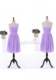 Elegant A-line Sweetheart Zipper-up Lavender Chiffon Bridesmaid Dress