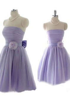 Romantic A-line Strapless Chiffon Bridesmaid Dress With Hand-made Flower