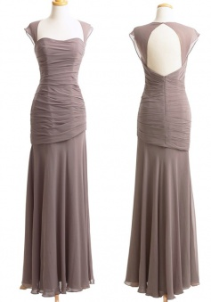 Elegant Capped Long Sheath Grey Chiffon Bridesmaid Dress