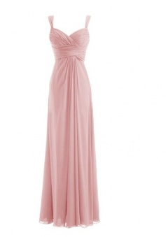 Long Spaghetti Strap Chiffon Bridesmaid Dress Sweetheart Formal Dress
