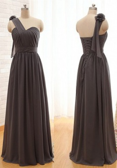 Romantic Sheath One-Shoulder Floor Lengrh Grey Bridesmaid Dress with Flower
