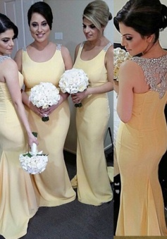 Mermaid Bridesmaid Dress-Yellow Scoop Floor-Length Beading