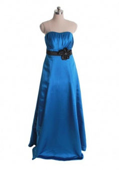 Sexy A-Line Sweetheart Floor-Length Blue Bridesmaid Dress with Flower