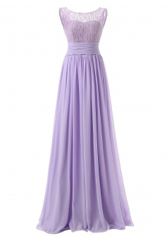 Simple Scoop Long Chiffon Lalic Bridesmaid Dress With Lace