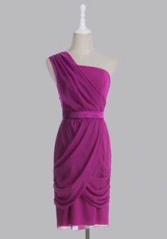 Elegant Column One-shoulder Zipper-up Knee-length Chiffon Bridesmaid Dress