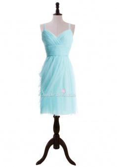 Modern A-line Spaghetti Straps Knee-length Chiffon Bridesmaid Dress