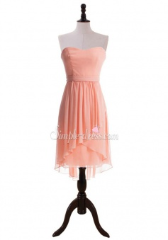 New-coming A-line Sweetheart Bow Knee-Length Chiffon Bridesmaid Dress