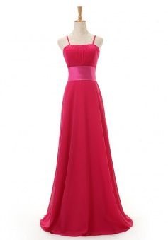 Cheap A-line Spaghetti Straps Floor Length Chiffon Red Bridesmaid Dresses LADT100012