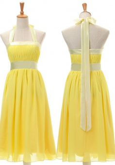 Latest A-line Halter Yellow Knee Length Chiffon Bridesmaid Dresses CHDT100038
