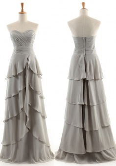Fashion A-Line Sweetheart Floor-length Chiffon Bridesmaid Dresses CHDT100090