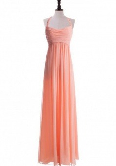 Elegant A-line Halter Floor Length Ruched Chiffon Junior Bridesmaid Dress CHPD-7239