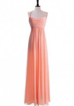 Elegant A-line Halter Floor Length Ruched Chiffon Junior Bridesmaid Dress CHPD-7239