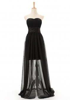 Charming A-line Sweetheart Floor Length Chiffon Black Bridesmaid Dresses CHPD-7260
