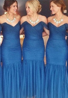 Mermaid Bridesmaid Dress - Royal Blue Off-the-Shoulder Floor Length Ruffles