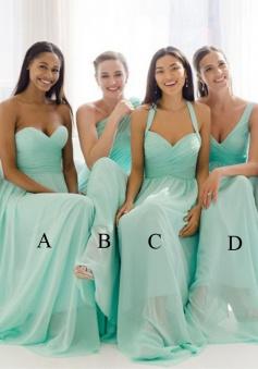 Exquisite Column Sweetheart Floor Length Mint Bridesmaid Dresses