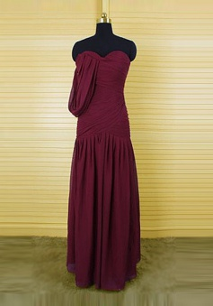 Retro Sheath Sweetheart Floor-Length Burgundy Bridemaid Dresse with Ruffles