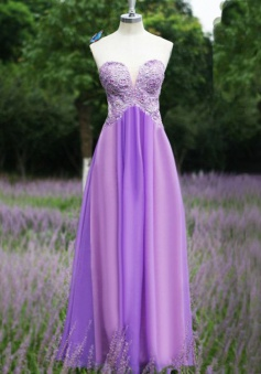Elegant  Sheath Sweetheart Flooe Length Purple Bridesmaid Dress with Appliques