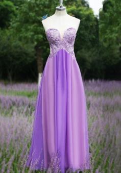 Elegant  Sheath Sweetheart Flooe Length Purple Bridesmaid Dress with Appliques