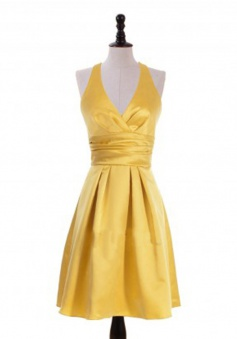 Simple A-Line Halter Knee Length Yellow Bridesmaid Dress with Ruched