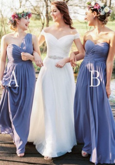 Exquisite Sheath One-Shoulder Floor-Length Lavender Bridesmaid Dress with Ruffles