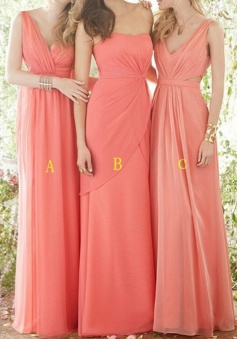 Sexy Sheath V-neck Floor Length Coral Bridesmaid Dress with Ruched