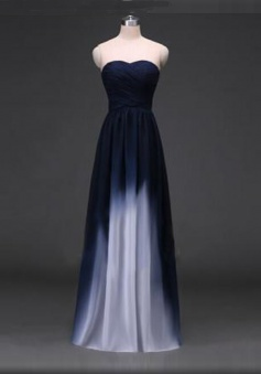 Gradient A-Line Sweetheart Flooer Length Bridesmaid/Prom Dress with Ruffles