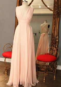 Elegant A-Line V-Neck Floor Length Pink Bridesmaid Dress with Bowknot