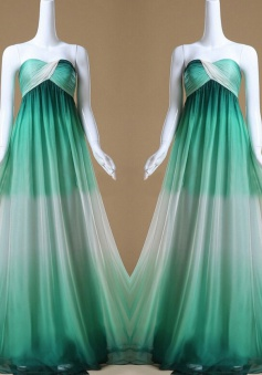 Gradient A-Line Sweetheart Floor Length Turquoise Bridesmaid Dress with Ruffles
