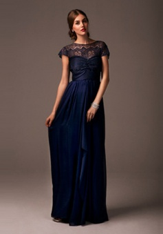 Elegant  A-Line Bateau Floor Length Navy Blue Bridesmaid Dress With Bowknot