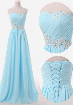 Simple A-line Sweetheart Floor Length Sky Blue Bridesmaid Dress with Beading