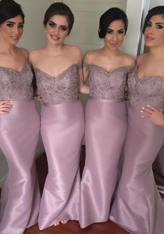 Mermaid Bridesmaid Dress - Pink Off-the-Shoulder Floor Length Beading